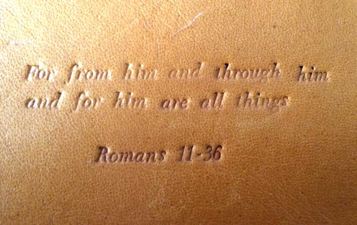 聖書の一文を革に刻印してみました。