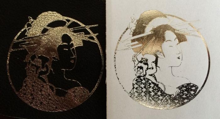浮世絵に真鍮直堀版で和紙と革に箔押してみました!
