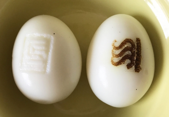 ゆで卵に焼印!電気コテとハンディーホットスタンプで.....