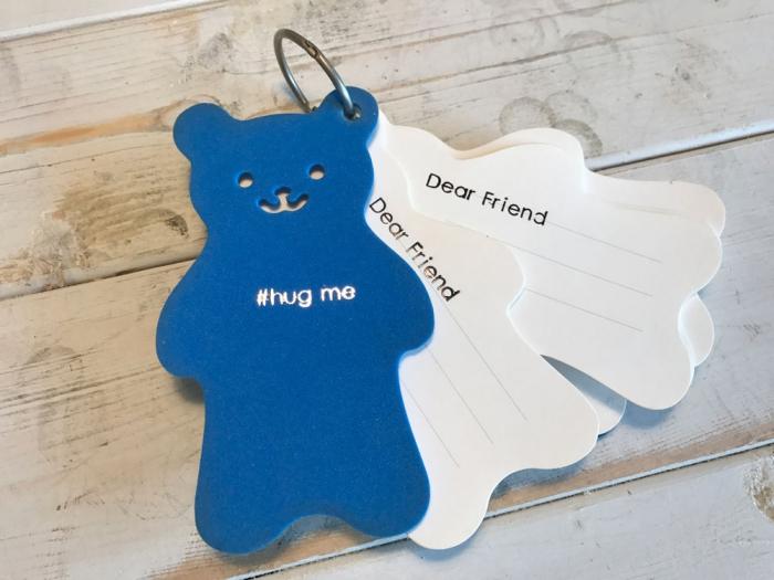 熊のメッセージカードに箔押......